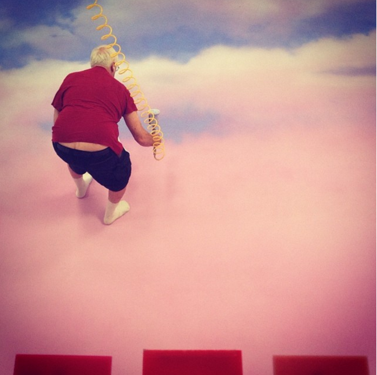 I have so much respect for our scenic artists and this guy has been finessing the craft for the last 40 years. Painting our beautiful pink sky backdrop. He is like a little cupid in the clouds!