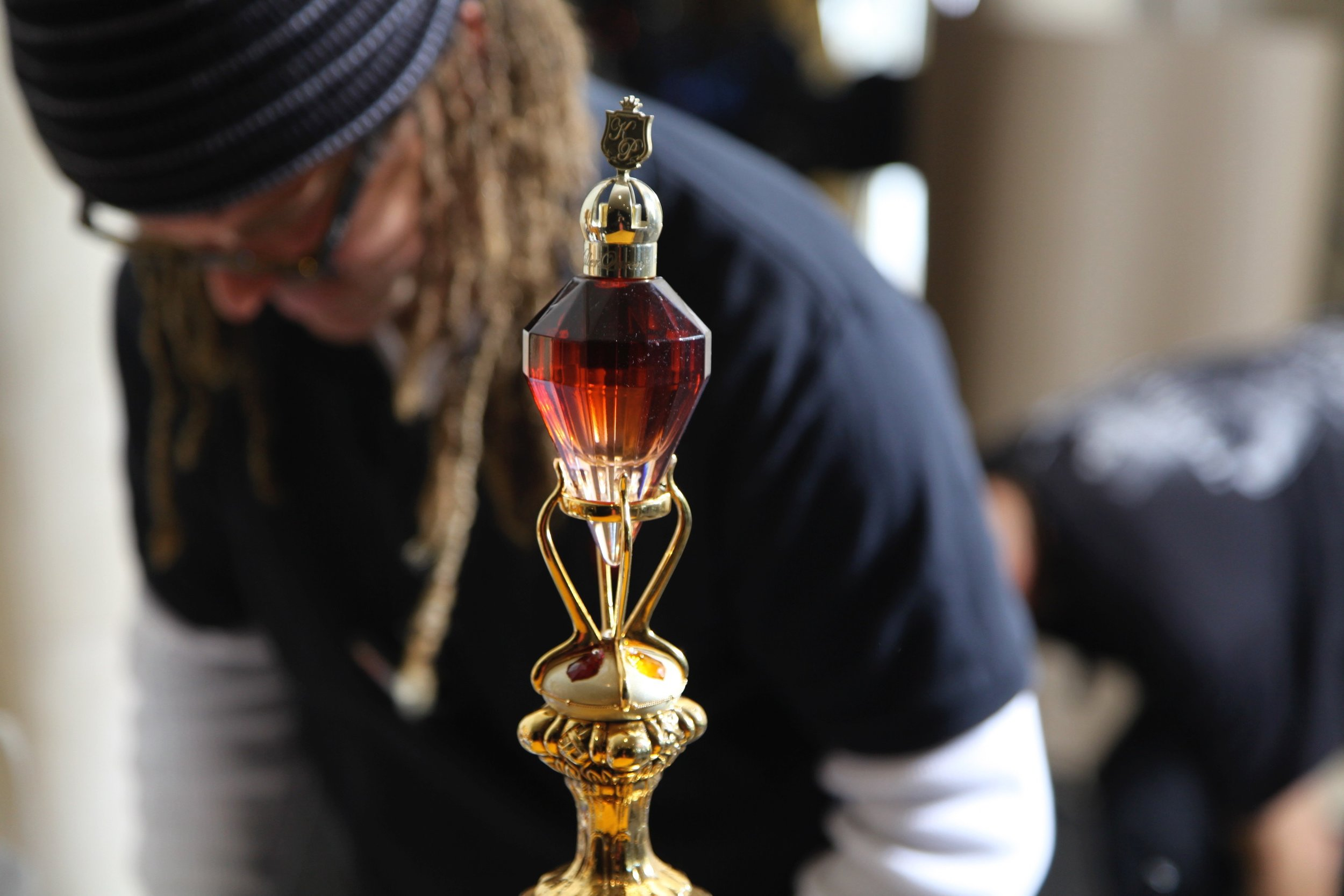 Simon Morgan drew up the beautiful sceptre that needed to hold the perfume bottle and John Merritt cast it.