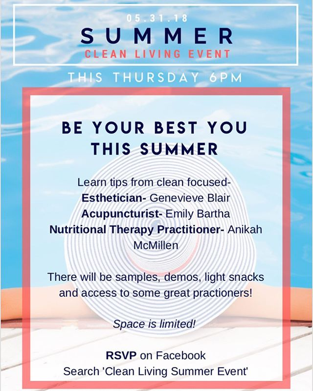 Portland friends! Join us for an event that helps you be your best you this summer! Learn tips from a clean beauty focused Esthetician, an Acupuncturist and a Nutritional Therapy Practitioner (Me! 😊). I will be presenting some tasty recipes and pro tips related to balanced nutrition. There will be samples, demos, light snacks and access to some great practitioners - have your questions ready!