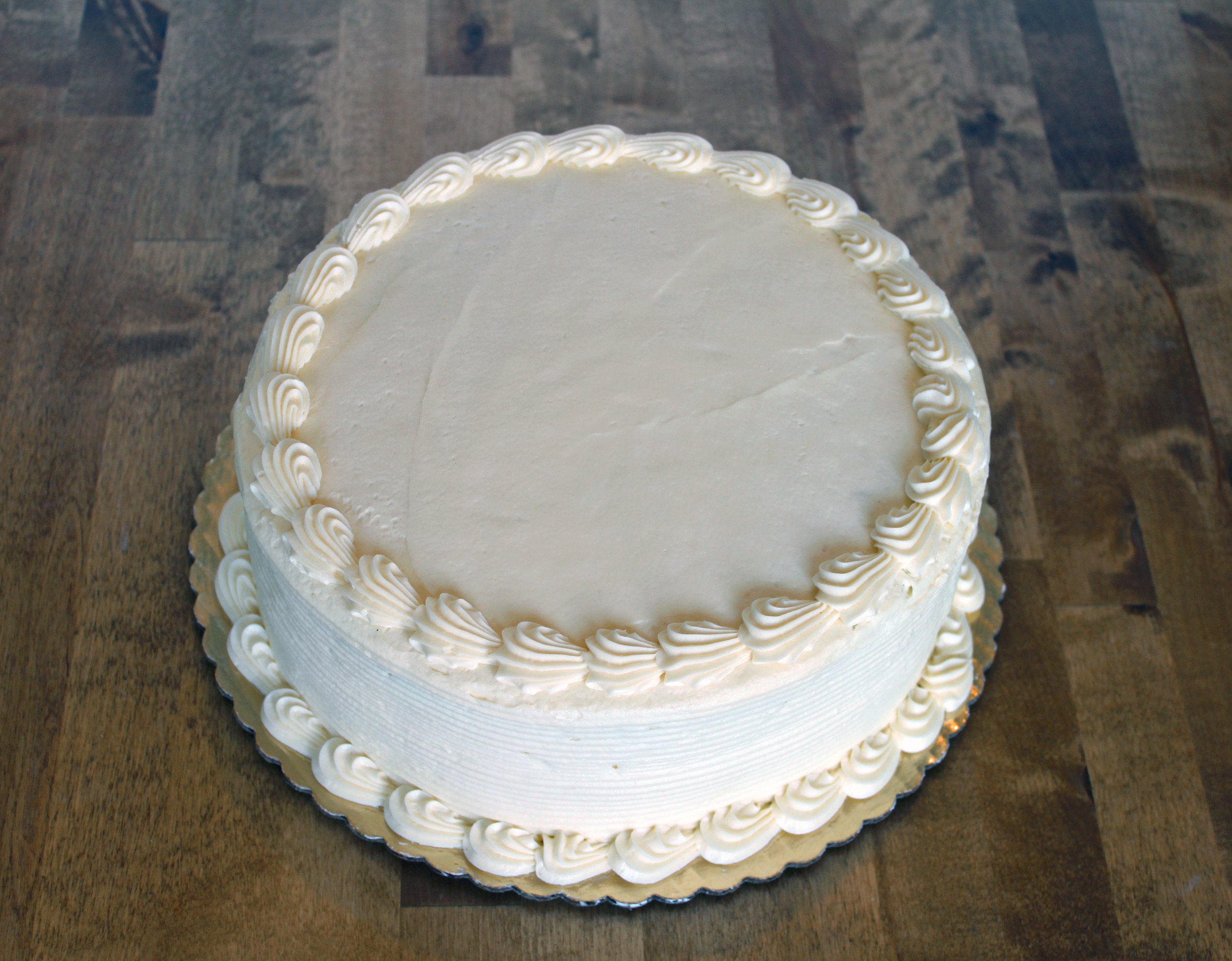 10 in round cake - $26.99    serves 16-20 people