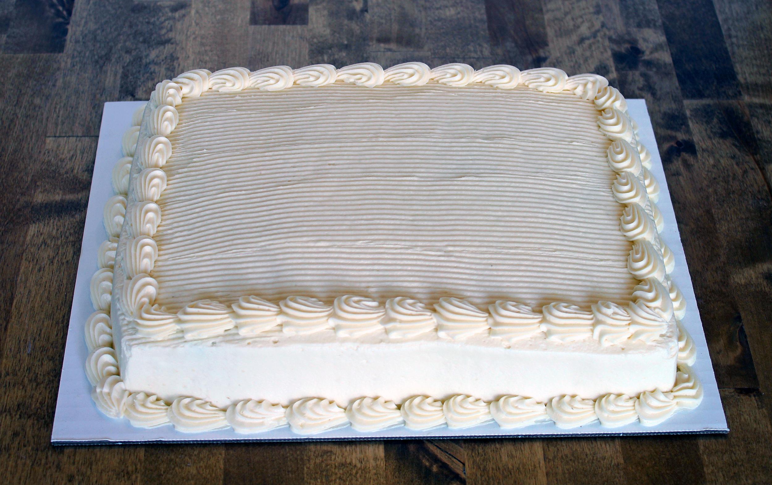 1/4 sheet cake - $23.99    serves 12 - 18 people
