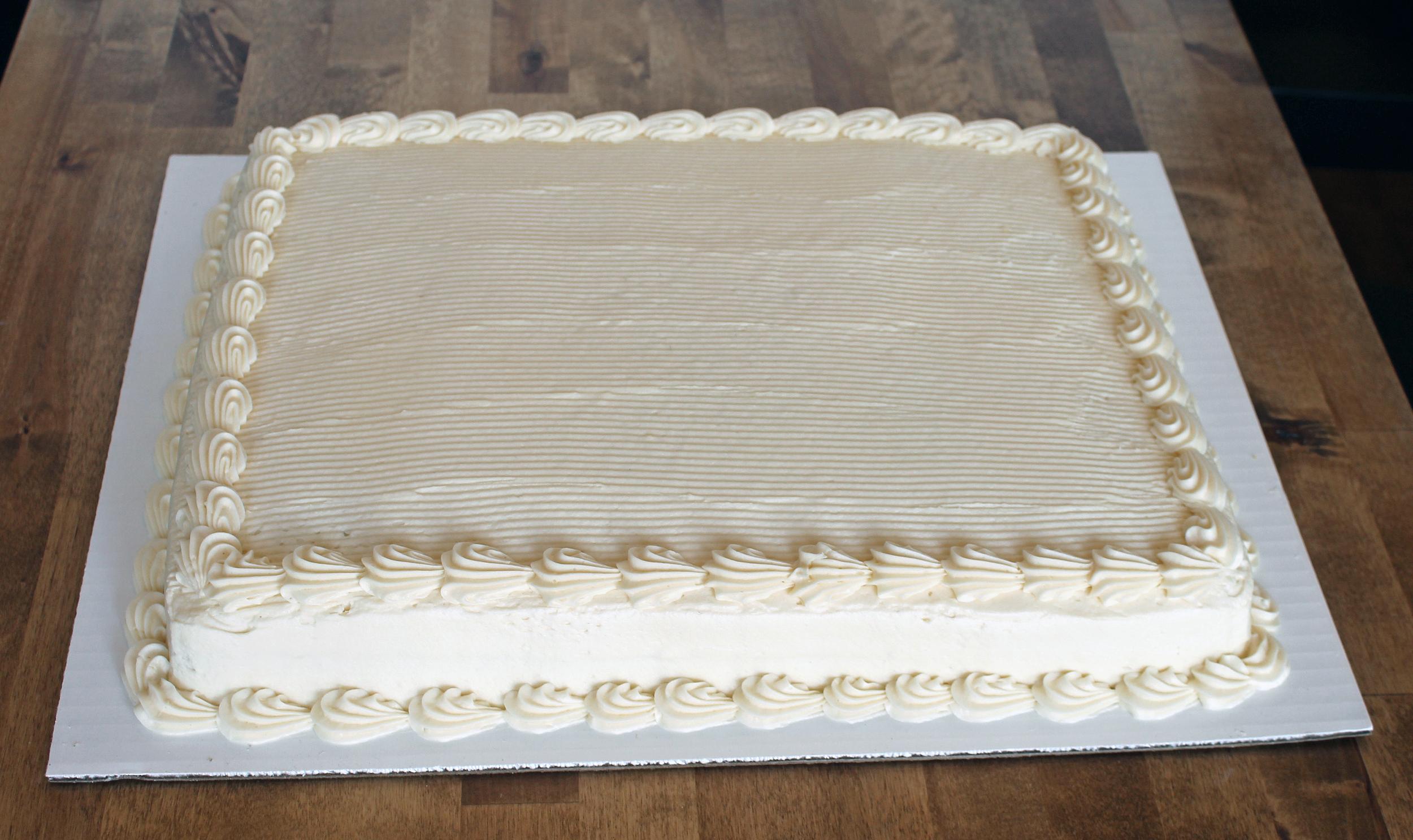 1/2 sheet cake - $35.99    serves 30 - 40 people