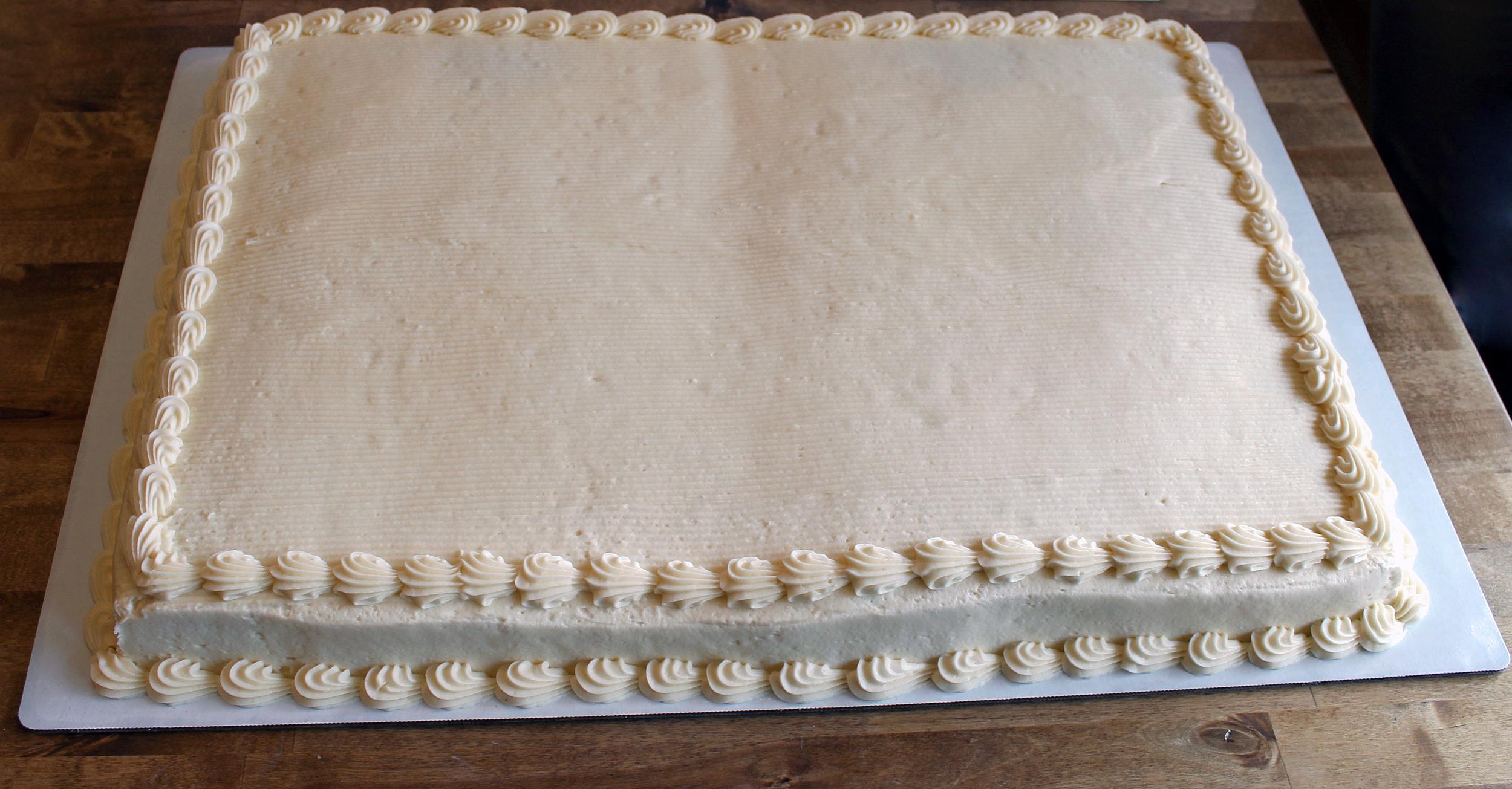 Full sheet cake - $62.99    serves 70 - 80 people