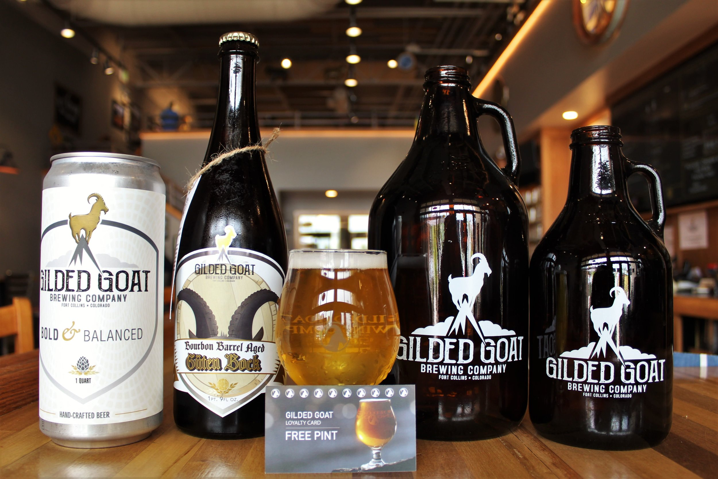 Gilded Goat loyalty punch car to win free craft beer. Crowler, bomber, growler, beer, and bottle. Fort Collins, Colorado at Gilded Goat Brewing Company.