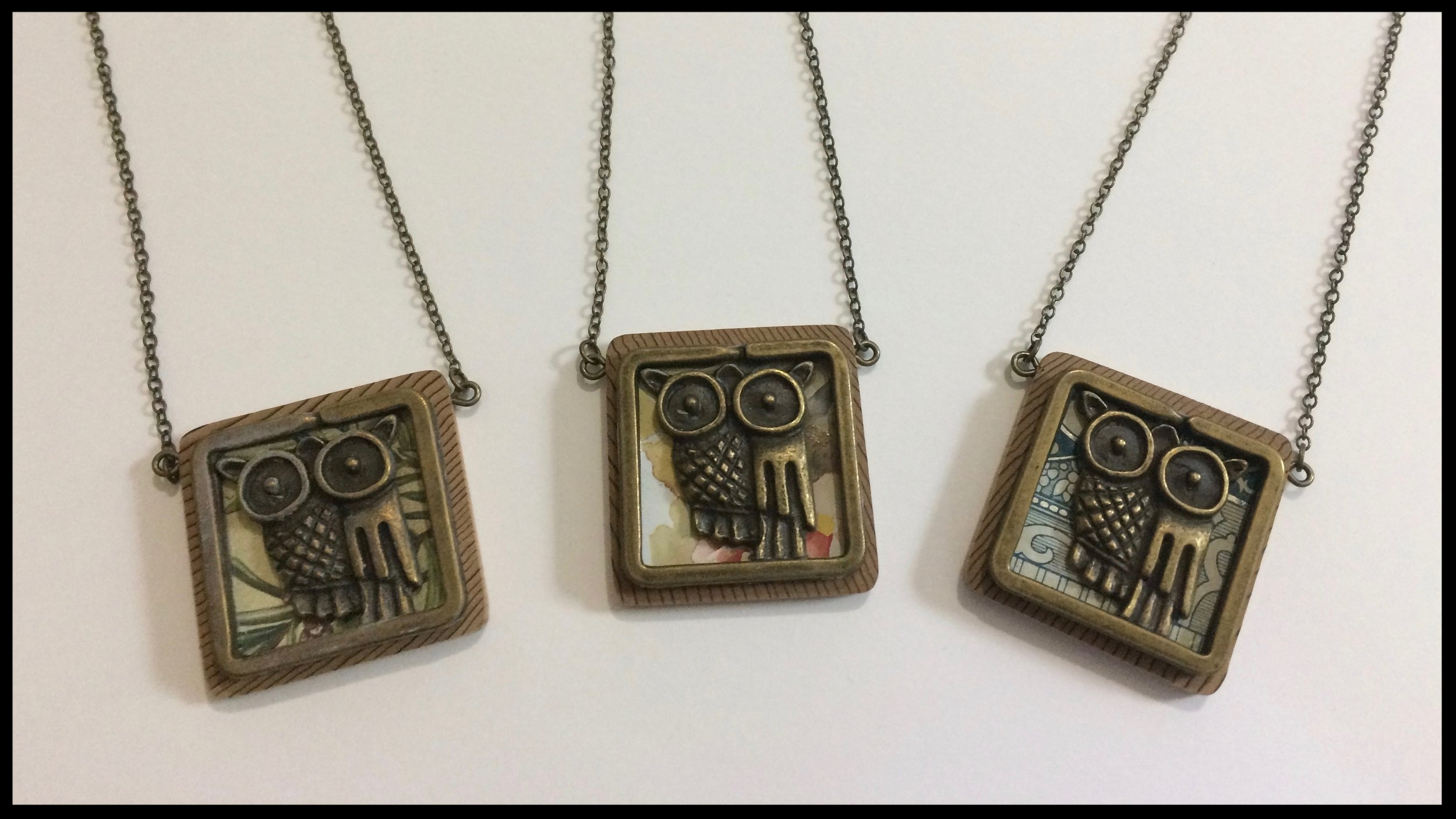 Owl - Tin, metal and wood necklaces