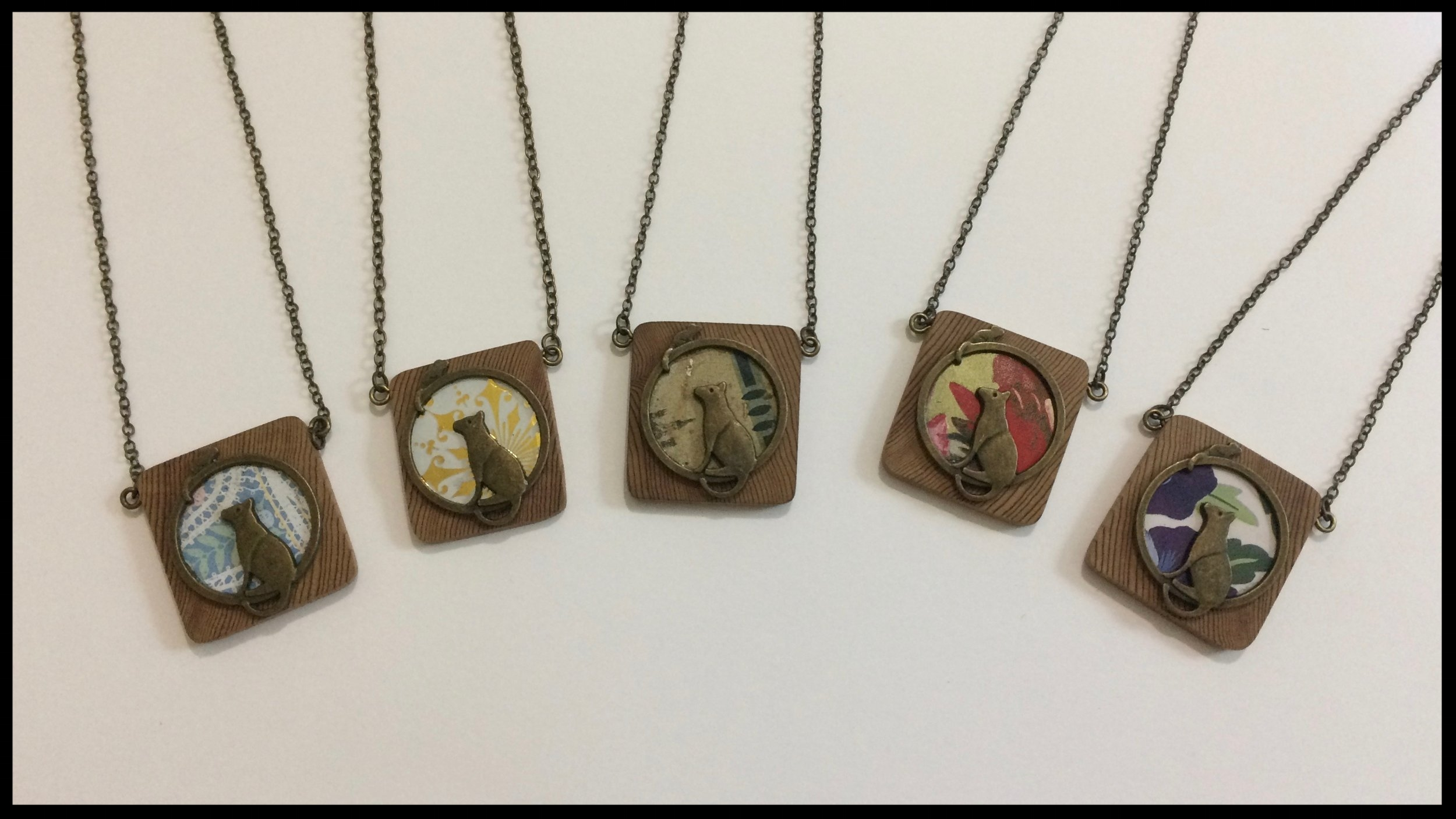 Cat - Tin, metal and wood necklaces