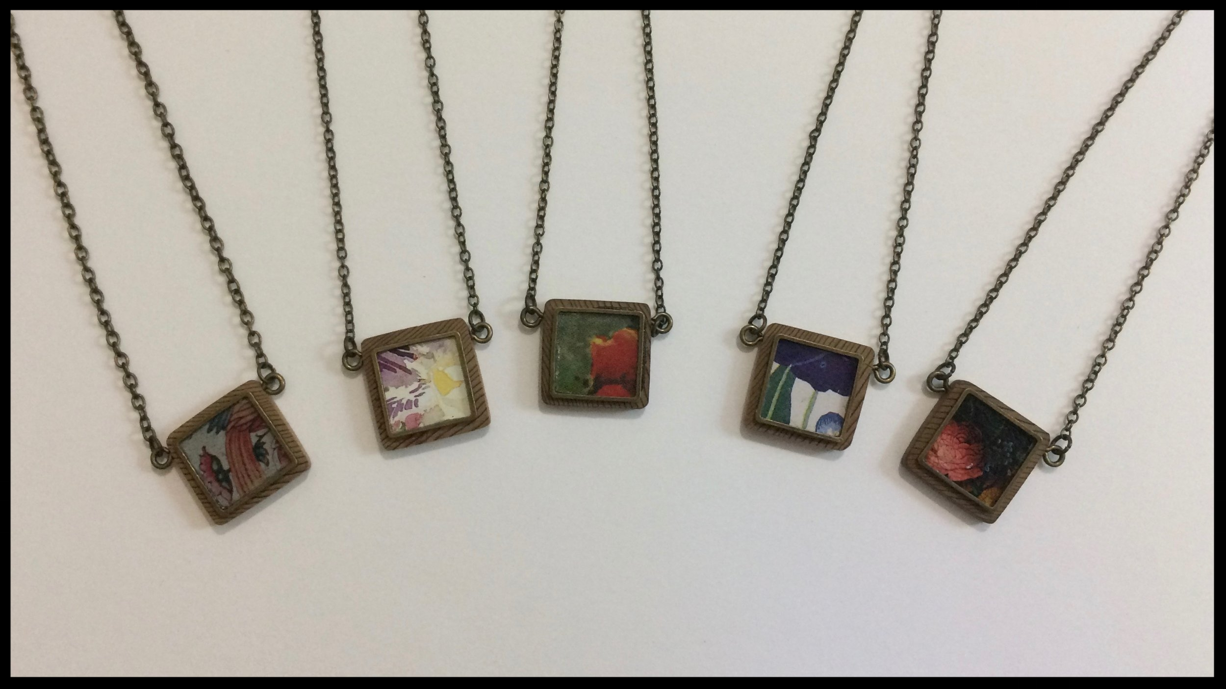 Square - Tin, metal and wood necklaces