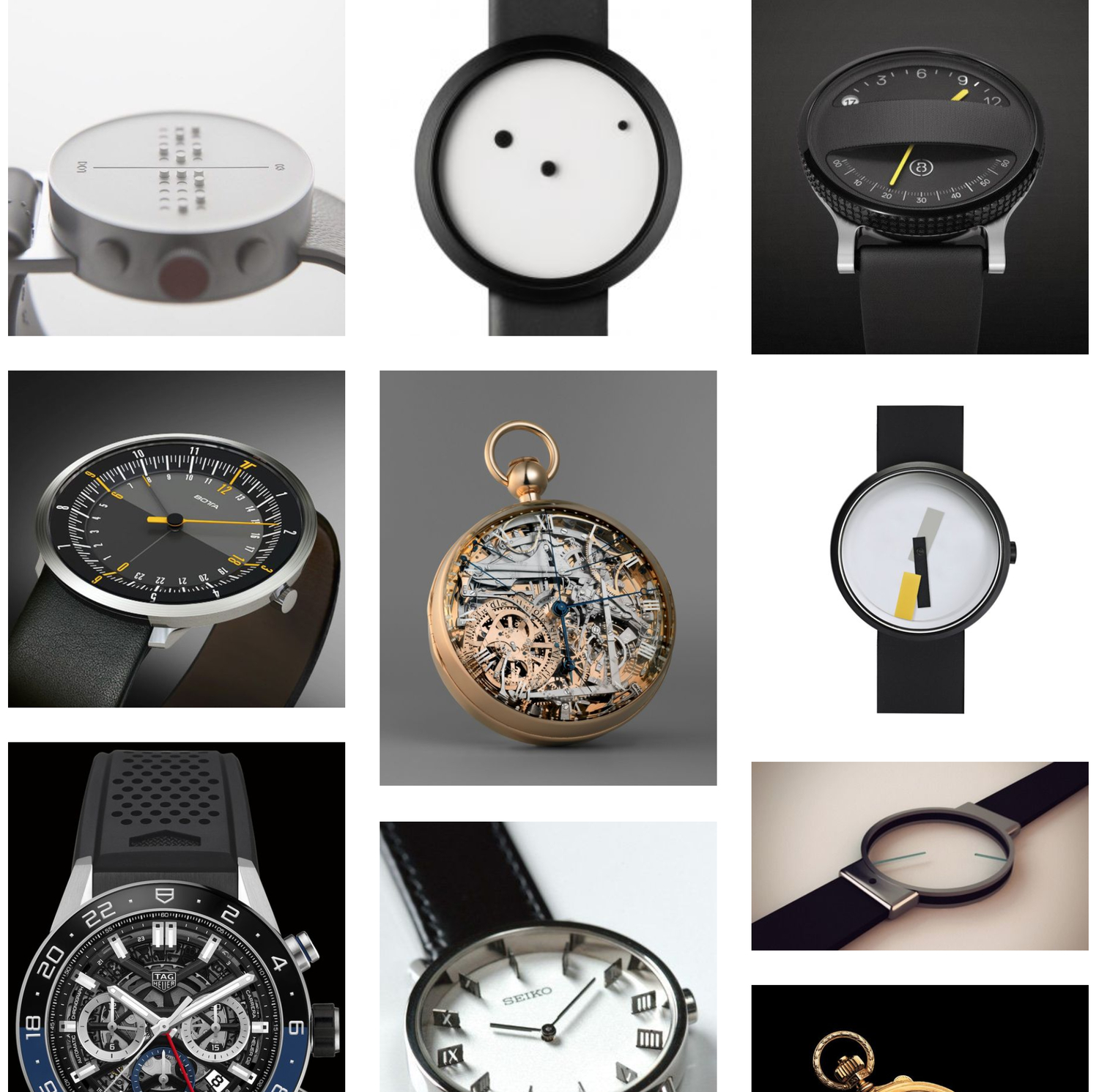 Moodboard of watches