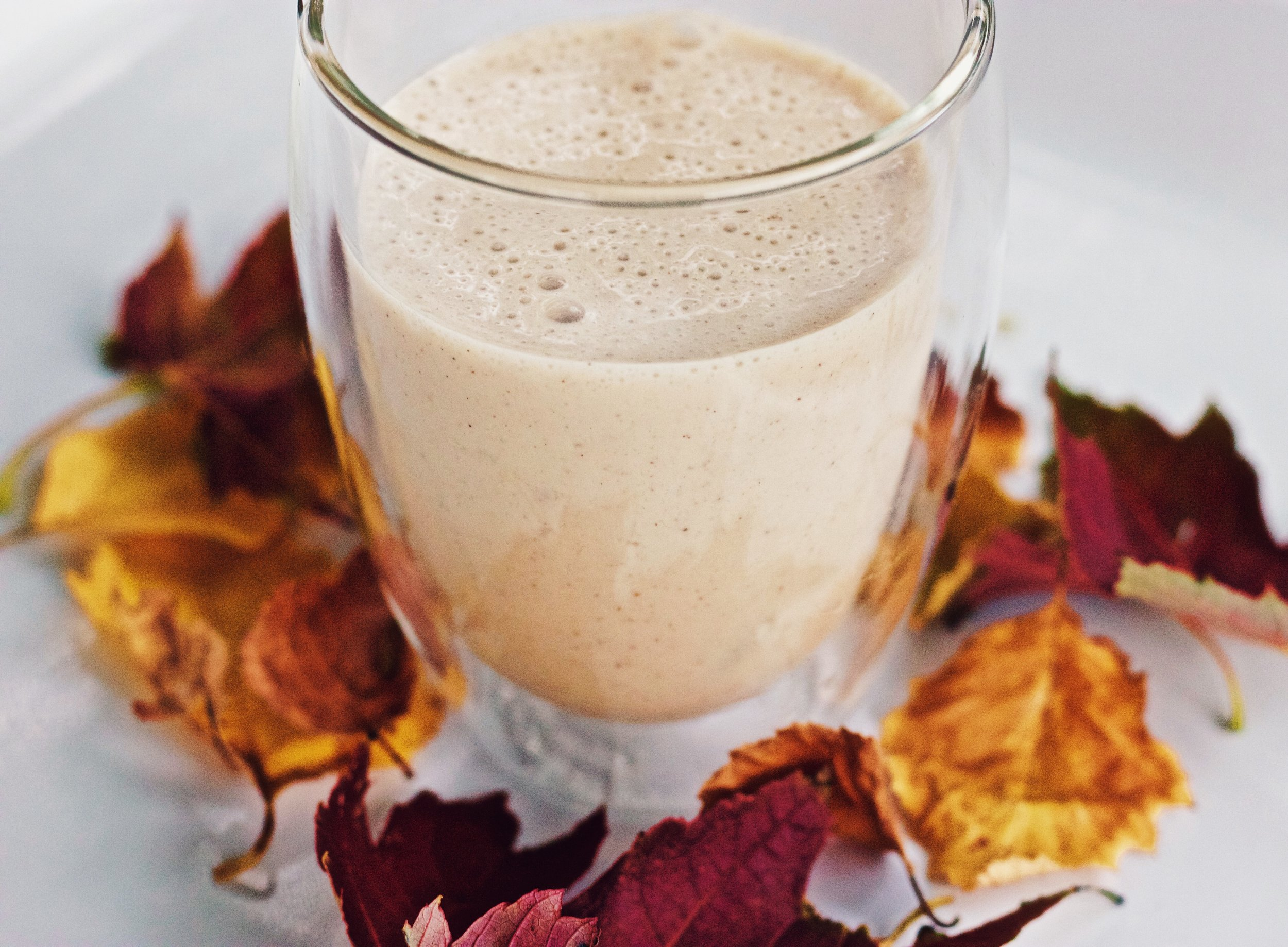 Here is the mug filled with our Pumpkin Spice Smoothie