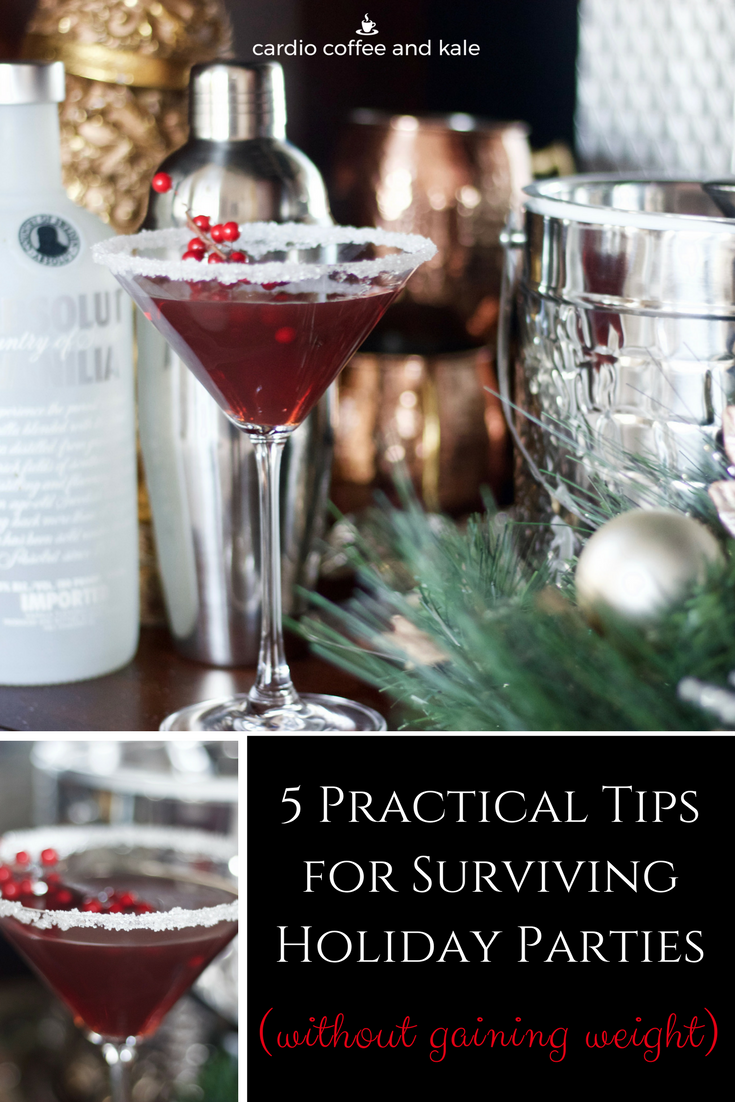 Try out these 5 practical tips to help you navigate through the holiday party season without gaining 10 extra pounds!