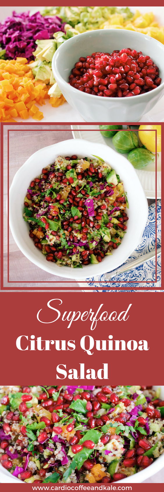 This salad is packed with superfoods and is one of my family's absolute favorites! The superfoods are loaded with tons of nutrients, antioxidants, anti-inflammatory properties,and heart healthy fats.It's a flavor explosion! It's a little savory, a little sweet, and even has some crunch...it's seriously delicious! WWW.CARDIOCOFFEEANDKALE.COM