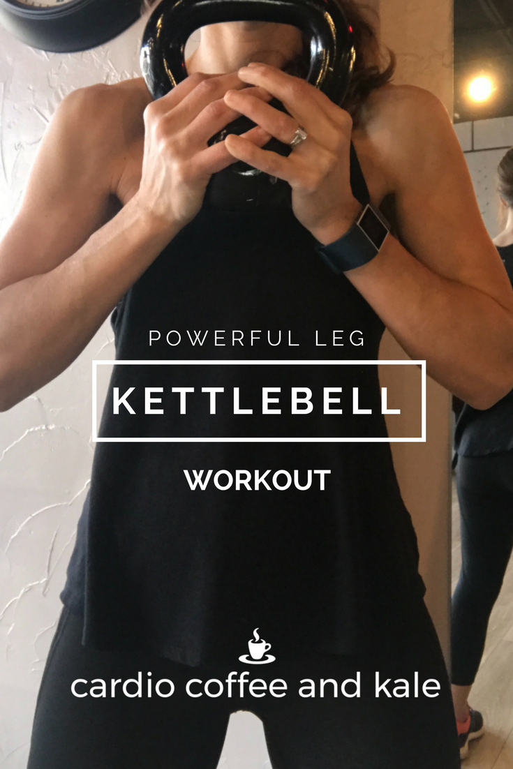 Powerful Kettlebell Leg Workout. Perfect lower body kettlebell workout! www.cardiocoffeeandkale.com