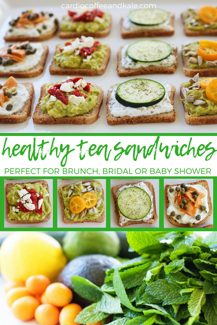 Perfect for your next brunch, shower, or even a tea party!  Healthy and delicious!  4 Healthy Tea Sandwiches - Perfect for a  Brunch, Shower or Tea Party cardiocoffeeandkale.com #cleaneating #healthy #healthyfood #brunchrecipes #showerrecipes #babyshower #bridalshower #avocadotoasts #yummy #healthyfood