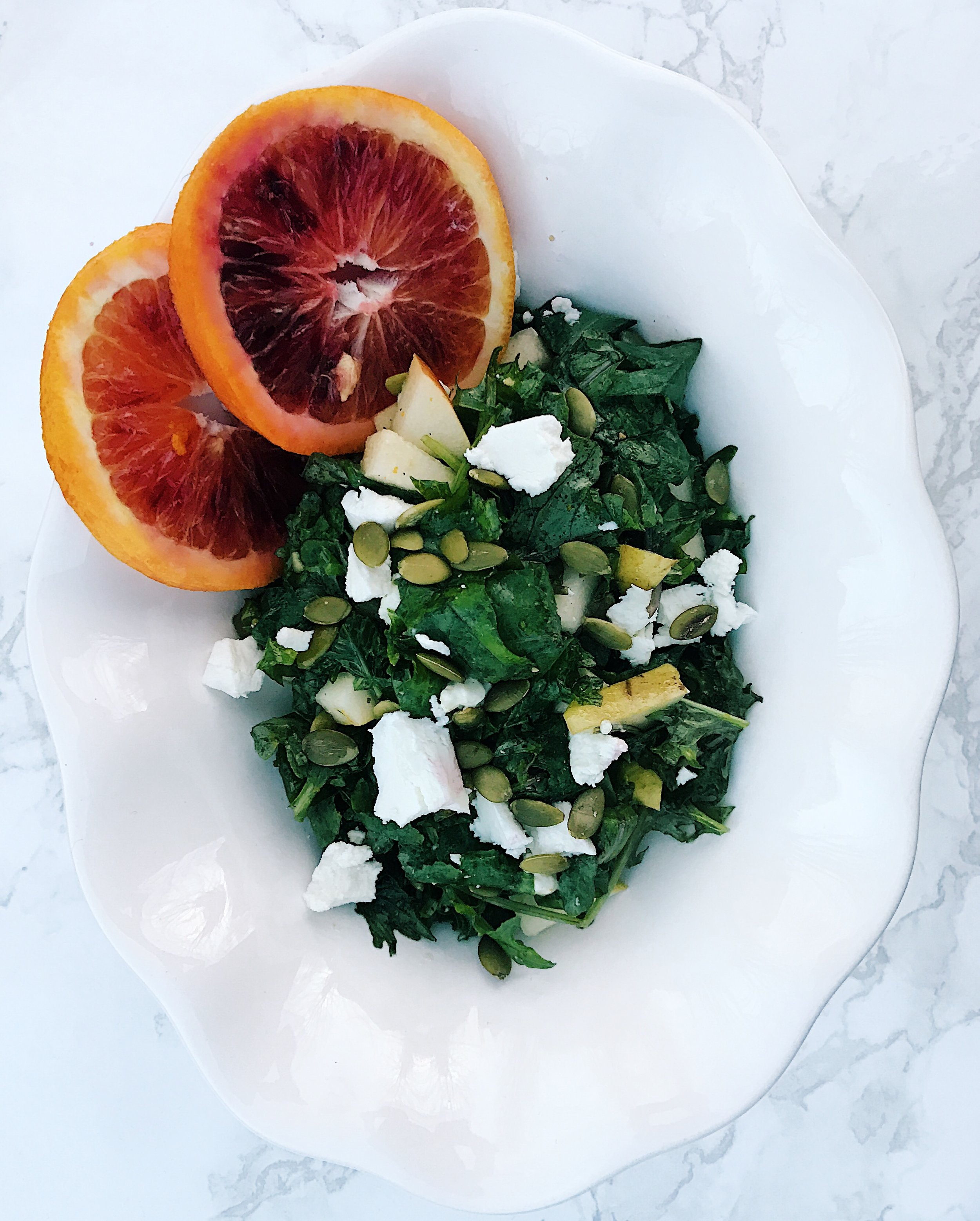 Healthy Citrus Pear and Kale Salad cardiocoffeeandkale.com