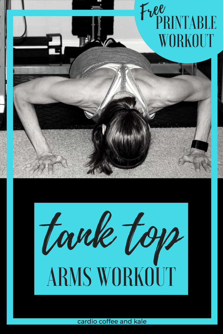 Looking for definition in your arms?  Grab some weights and try our new Tank Top Arms workout!  cardiocoffeeandkale.com #workouts #armworkout#upperbody #workoutmotivation #tanktops #strengthworkout #resistance #Weightlifting #liftweights #strongnotskinny #healthy #healthyliving