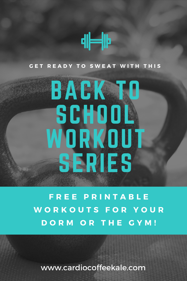 DORM COLLEGE WORKOUT SERIES. back to school workouts! www.cardiocoffeeandkale.com