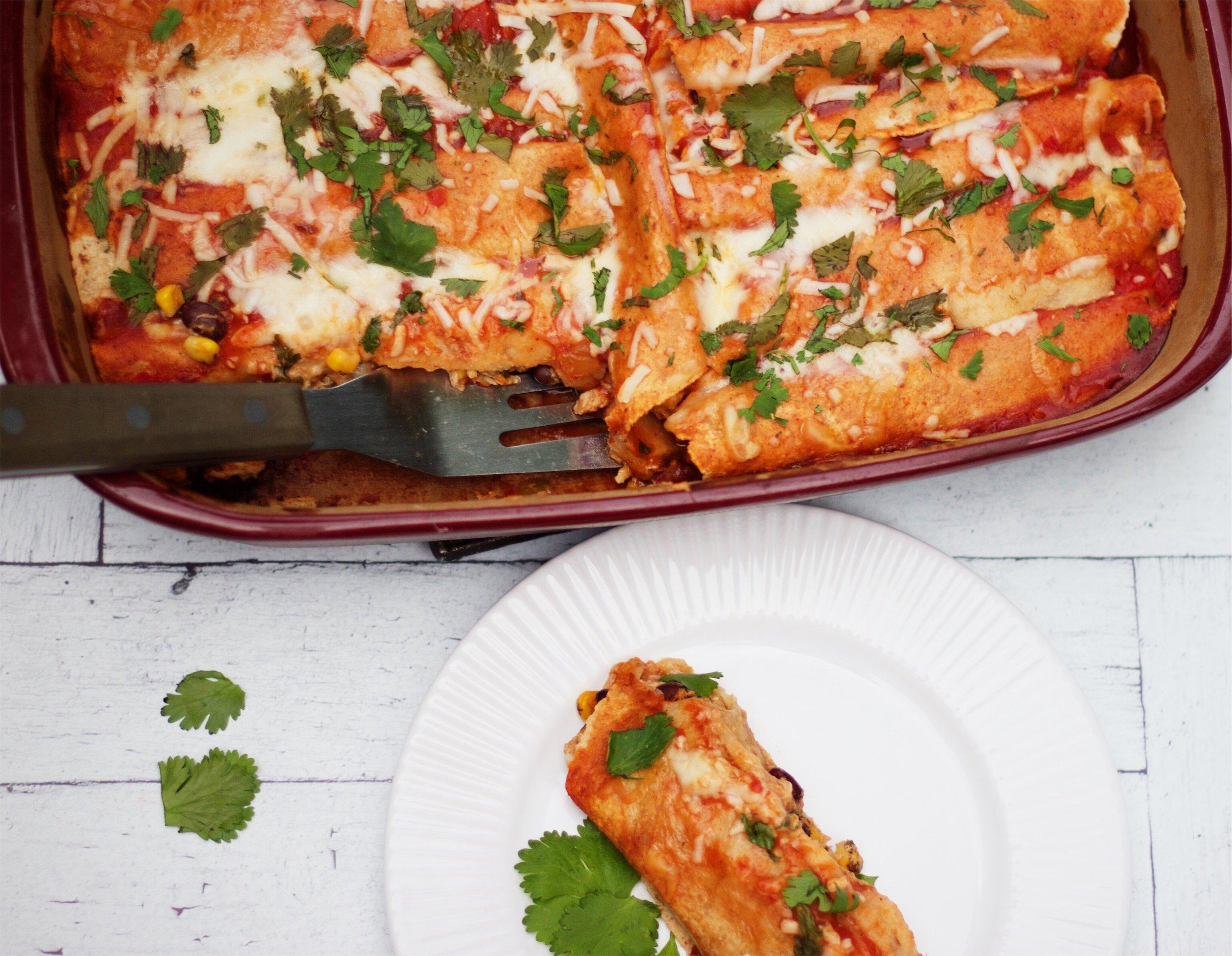 Creamy Baked Chicken Enchiladas...that are actually healthy! cardiocoffeeandkale.com