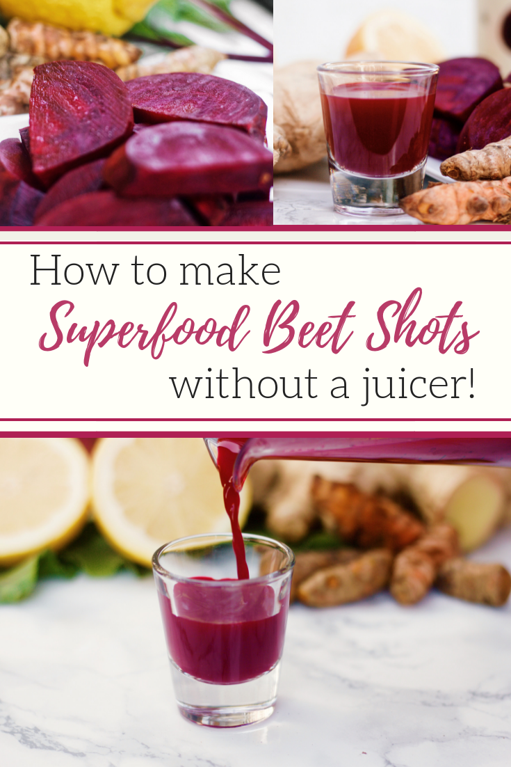 Are you a fan of all the health benefits of beets but want to try a juice shot?  Well these are packed with other healthy antioxidant rich foods like turmeric, ginger, parsley and lemon!  They taste fresh and are a vitamin rich shot in your diet! How to make Superfood Beet Shots without a juicer!  #health #healthyrecipes #healthyliving #recipes #beets #healthfood #detox #antioxidant #running #runners #runfaster #fitness #fitlife #fitnesslifestyle #liveauthentic