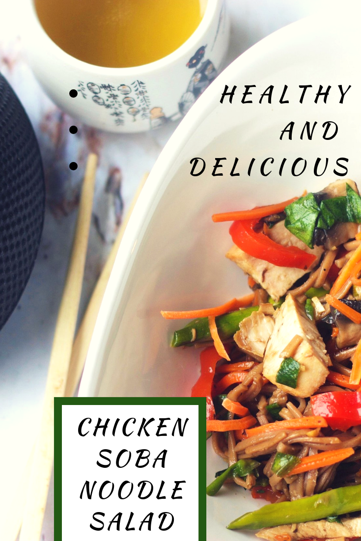 This yummy Soba Noodle Salad can be made with or without the chicken for a quick weeknight meal!  #meals #cleaneating #healthy #healthyrecipes