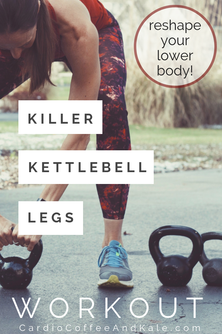 Get ready to sweat and tone your legs!  This plyometric and strength leg workout uses just one kettlebell, but it is a challenge that will leave you sore for days!  #kettlebell #leanlegs #Tone #lowerbody #workout