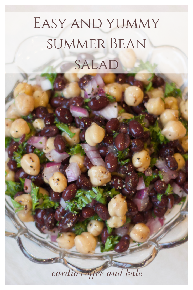 Easy Summer Bean Salad. Get your protein with this yummy salad!  www.cardiocoffeeandkale.com