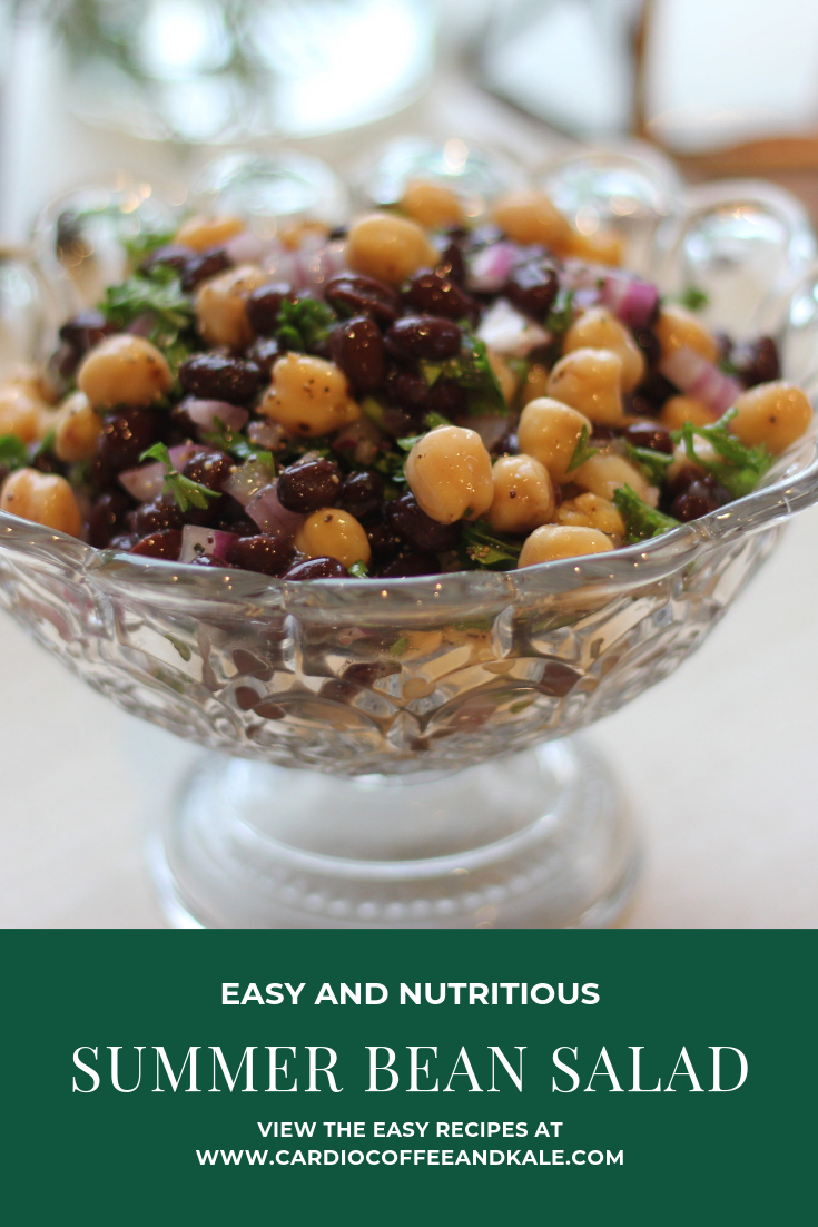 Easy and Nutritious Bean Salad.  Protein packed summer salad!  www.cardiocoffeeandkale.com