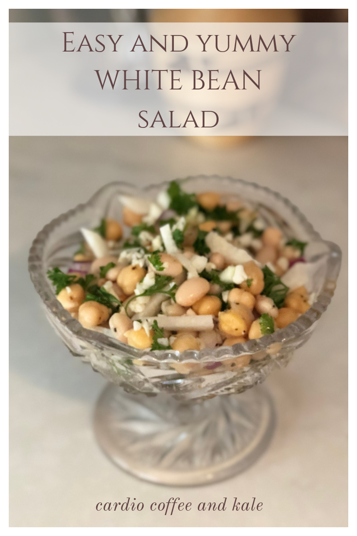 white bean salad!  easy way to get some plant based protein!