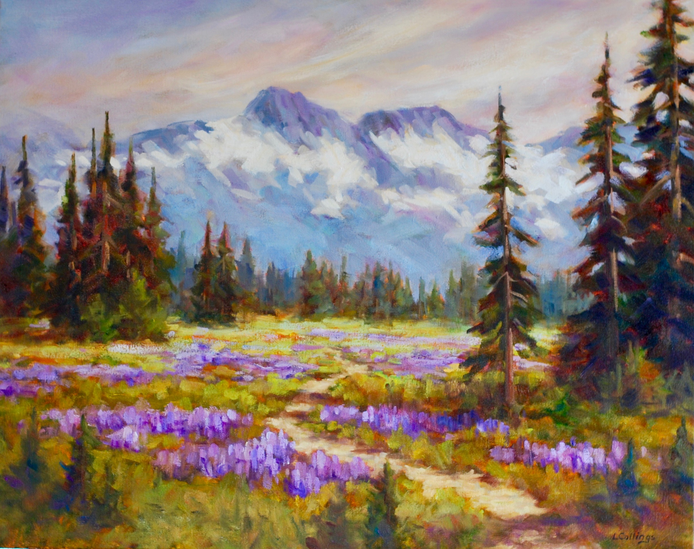 "10 - Lupin Field - 24 x 30"", oil on canvas, $1,080-"