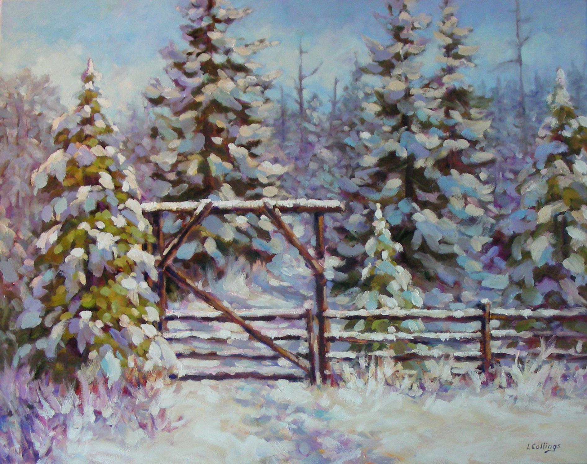"7 - Farm Gate - 24 x 30"", oil on canvas, $1,080-"