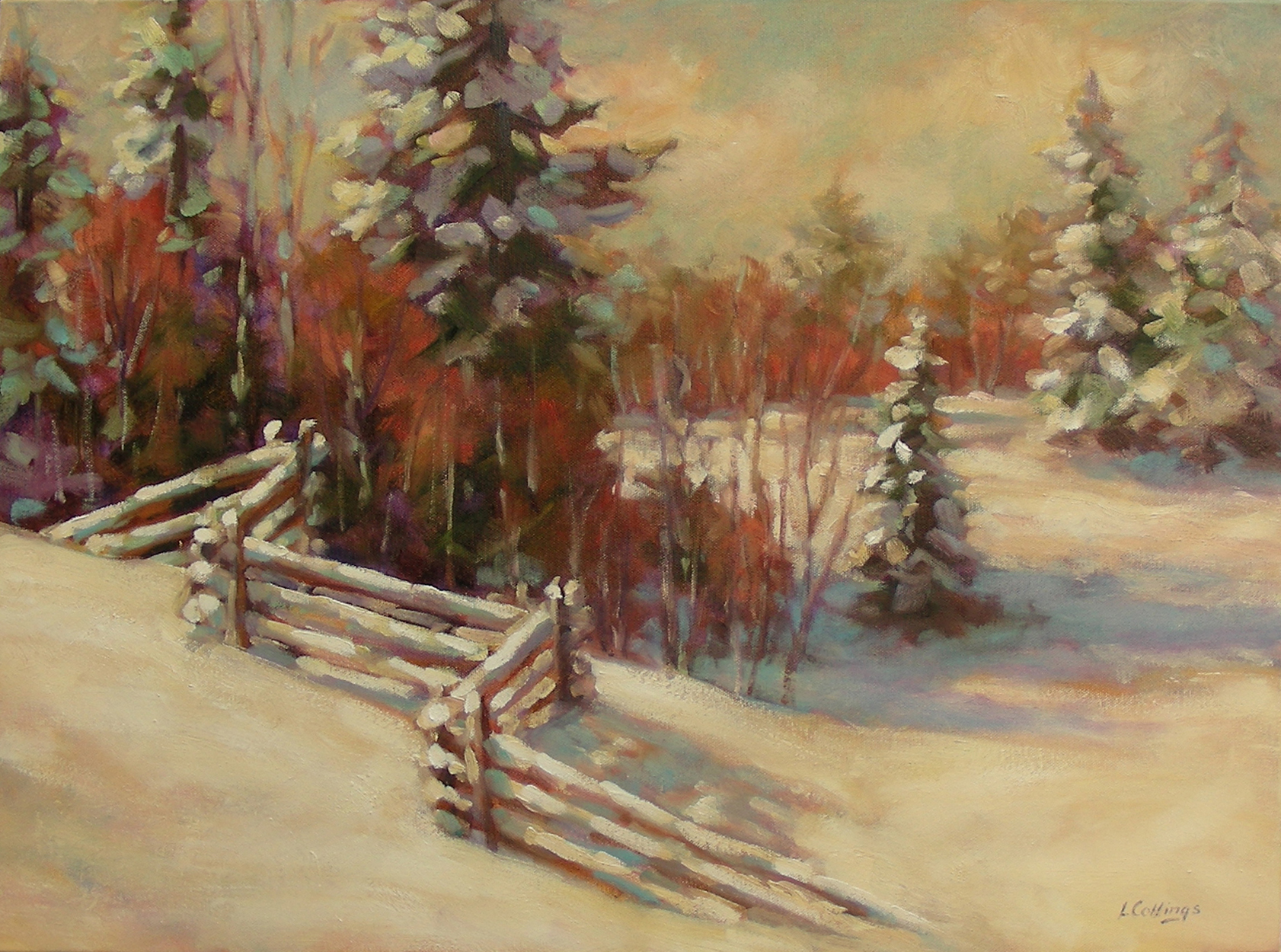 "13 - Fence Line - 18 x 24"", oil on canvas, $650-"