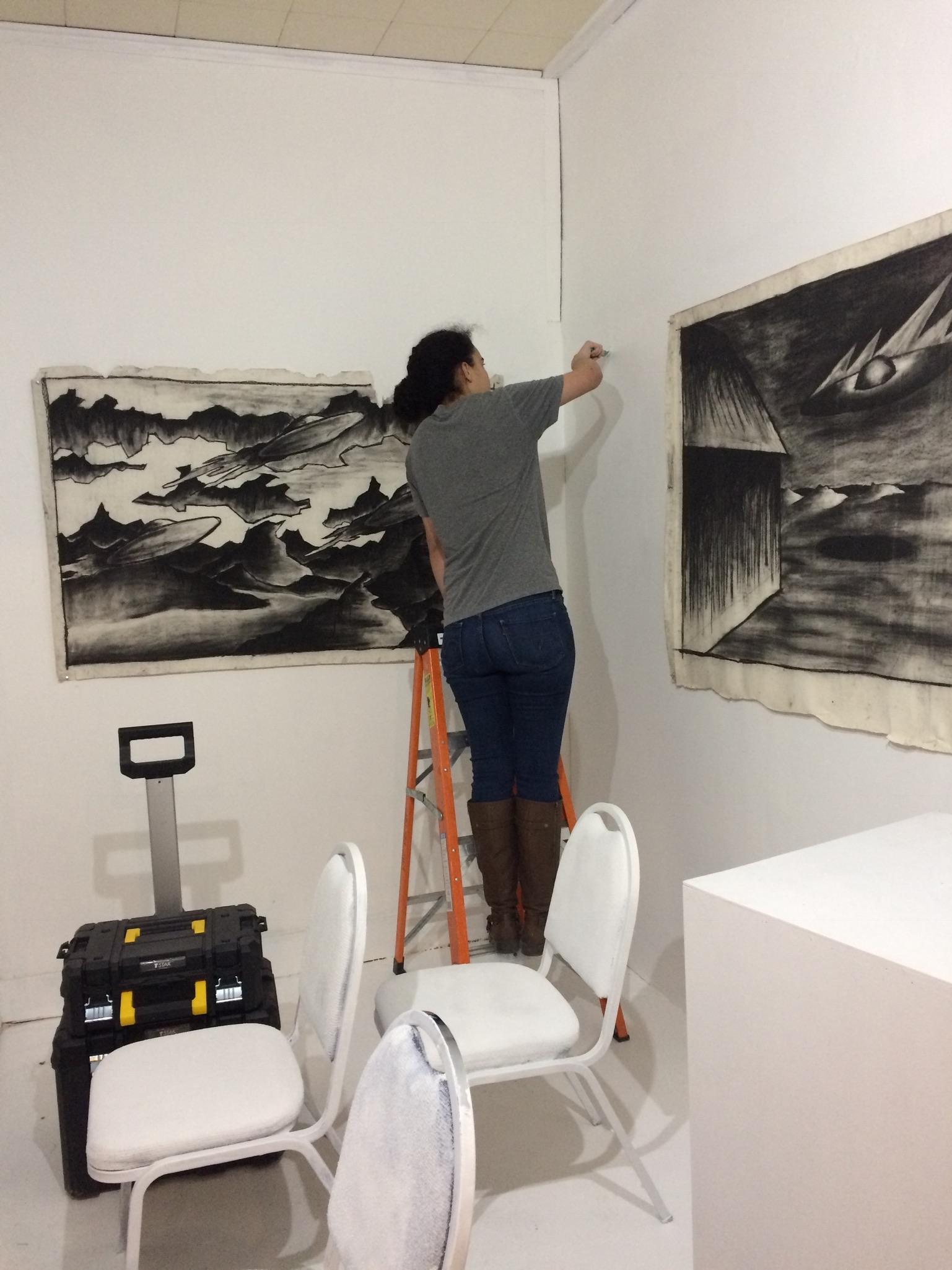 INSTAlLATION: Matthew Pleva works on paper. Ashleigh