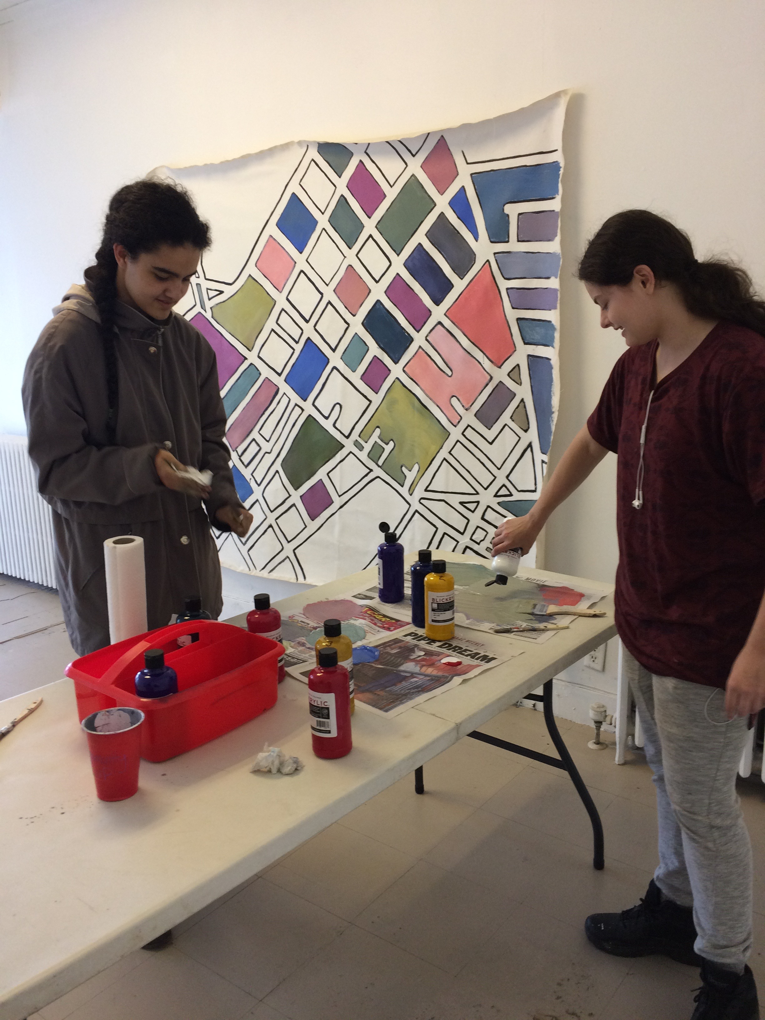 Preparing for community day mural in our new project space.