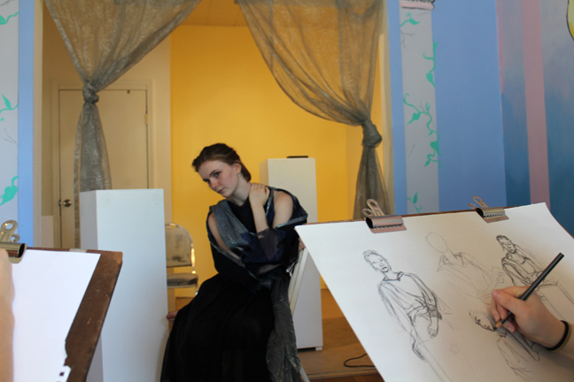 Costumed Drawing series, facilitated by Rebecca Hellard. Models express themselves through their wardrobe while artists expand their understanding of figure drawing.