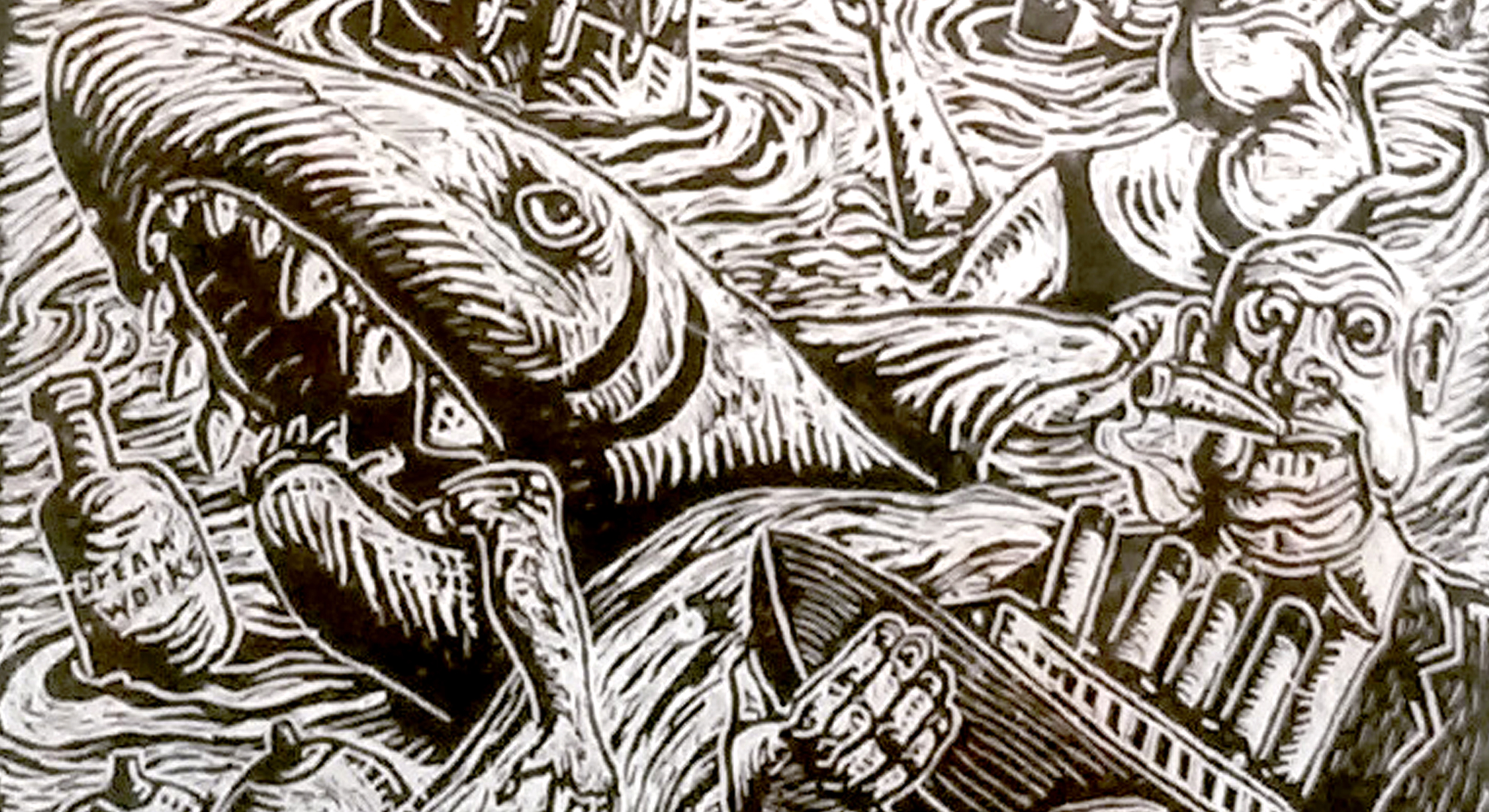detail, Stephen Lewis, relief print