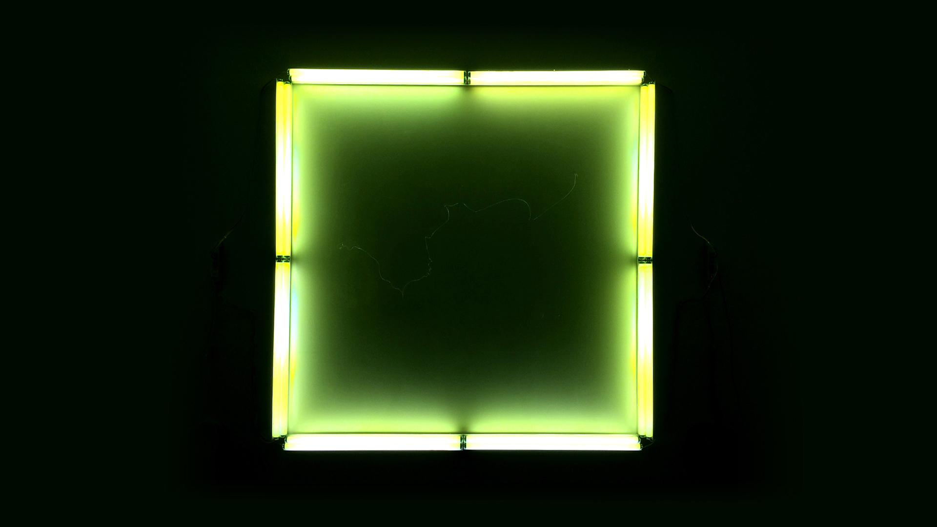 """On Notice"", Fluorescent Light, Wire, Mixed Media"