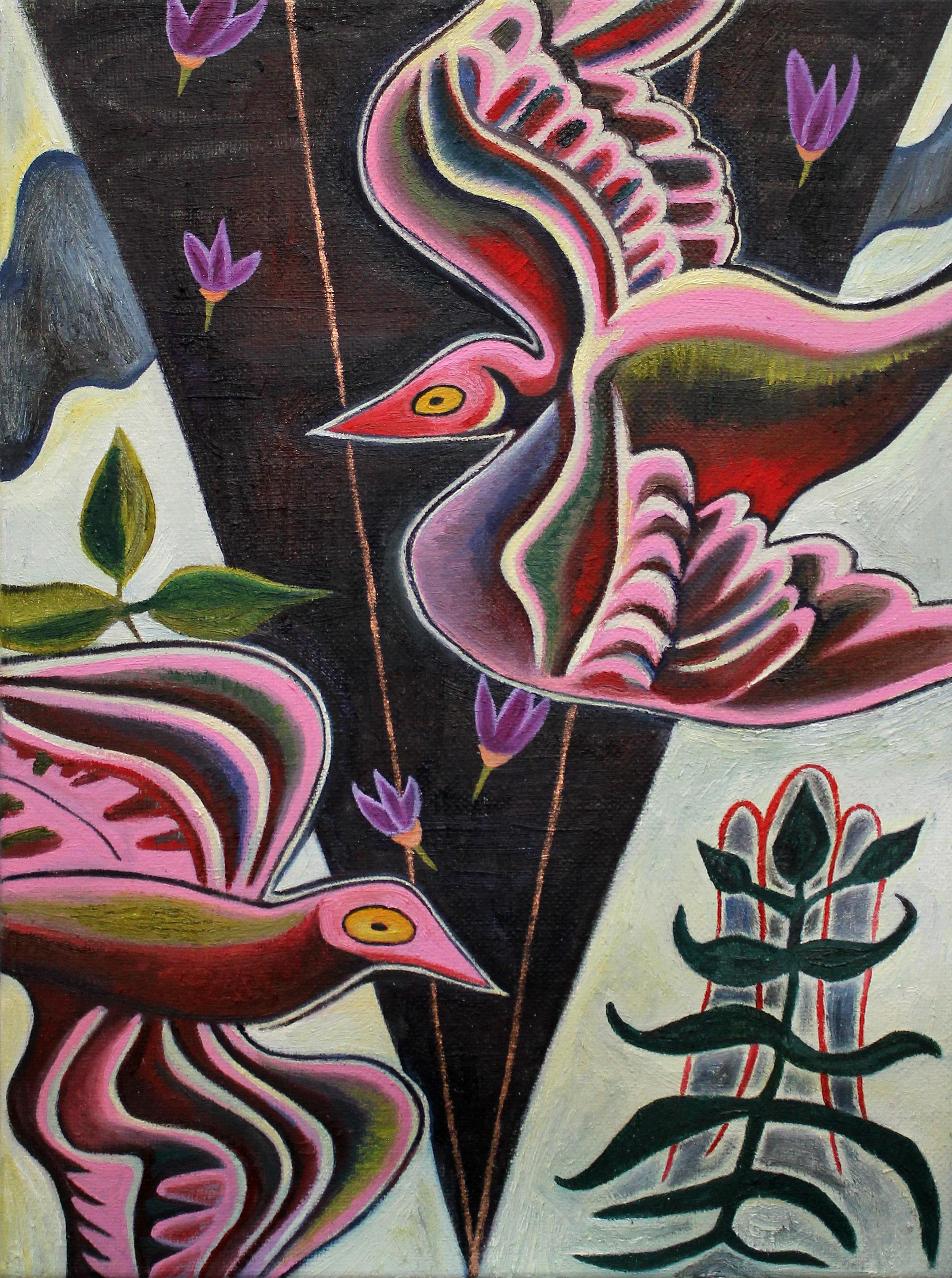 "Pink Birds, 9"" x 12"", oil, 2019"