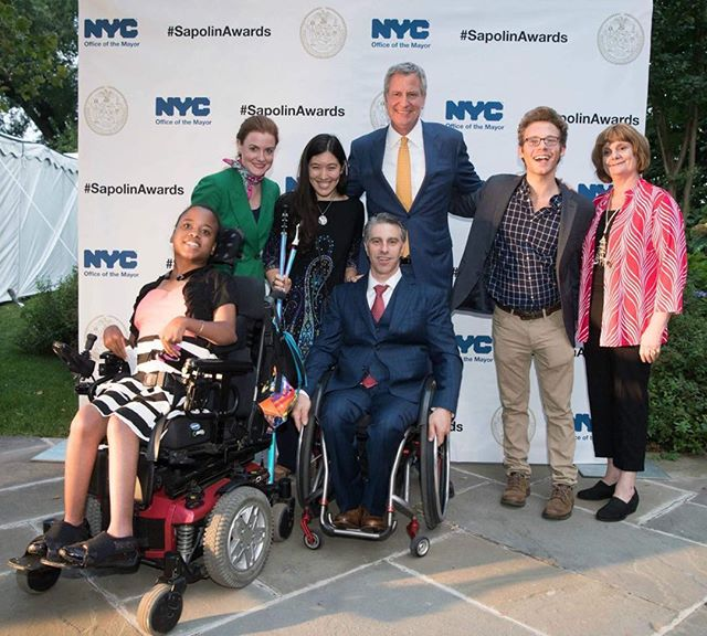 Mayor Deblasio , Commissioner for people with disabilities, Ms. Wheelchair