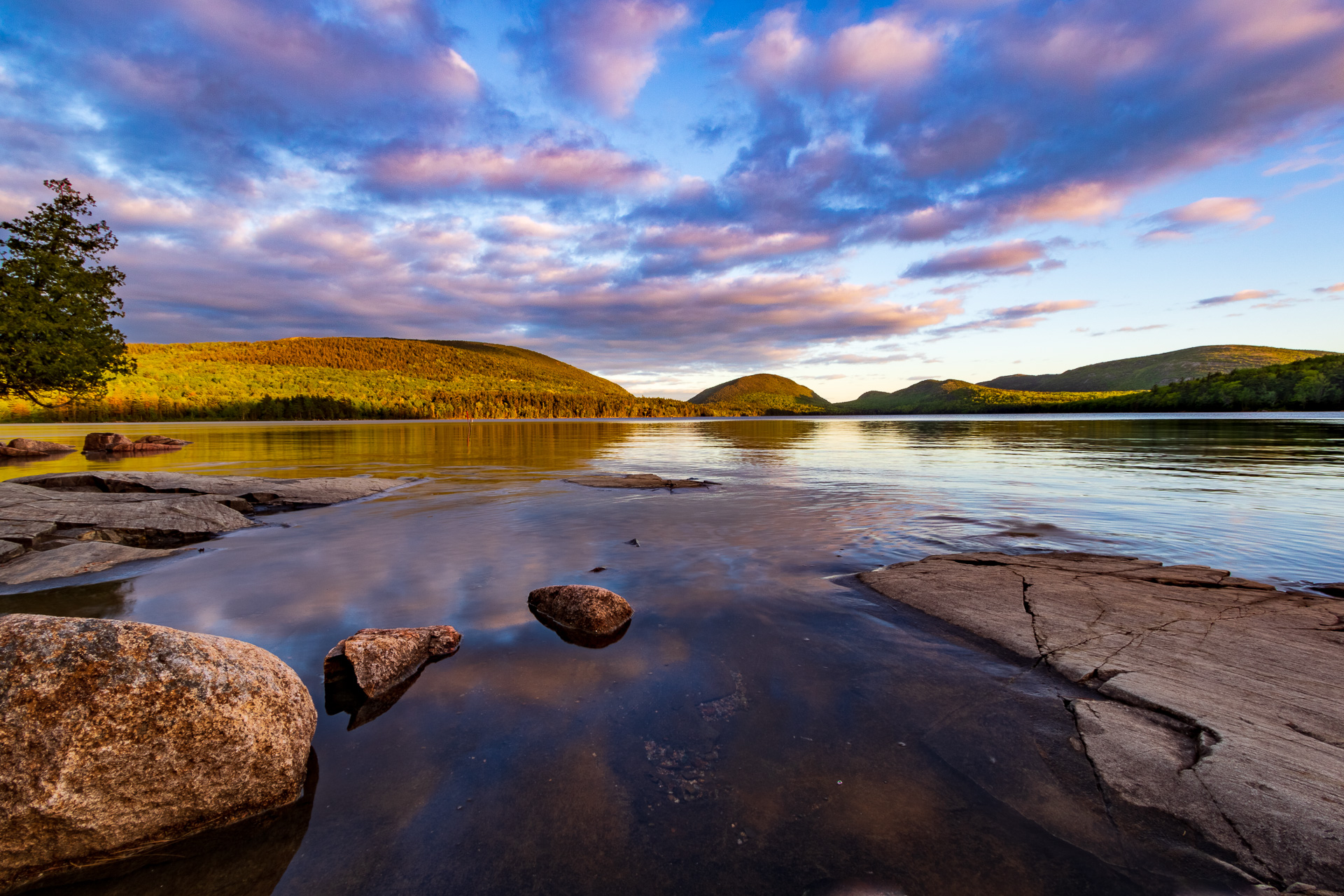 HDR image of Eagle Lake in Acadia National Park.