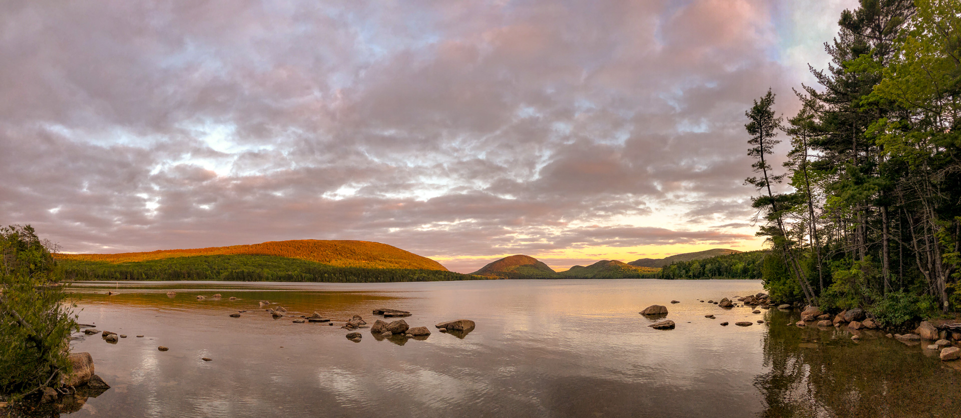 Panorama of Eagle Lake in Acadia National Park, taken with the iPhoneX