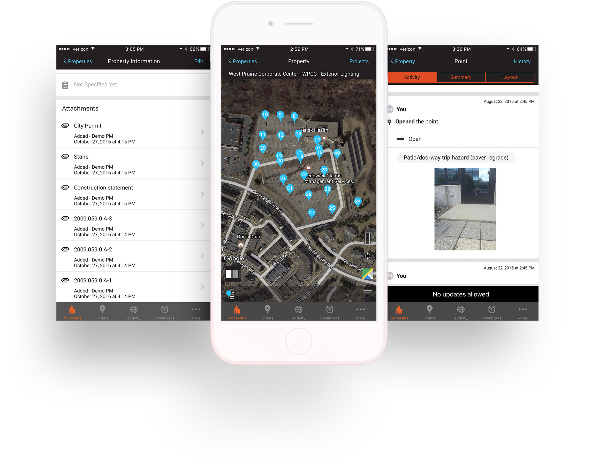 Assessment Feature - For managed and non-managed properties and facilities, One Spot allows you to make customized assessments using geo-tagged photos and comments, accurate maps and image layouts, property tracking, reminder settings, integrated team communication, custom point lists, and access to your digital file cabinet. You'll also be able to create flexible reporting from anywhere.