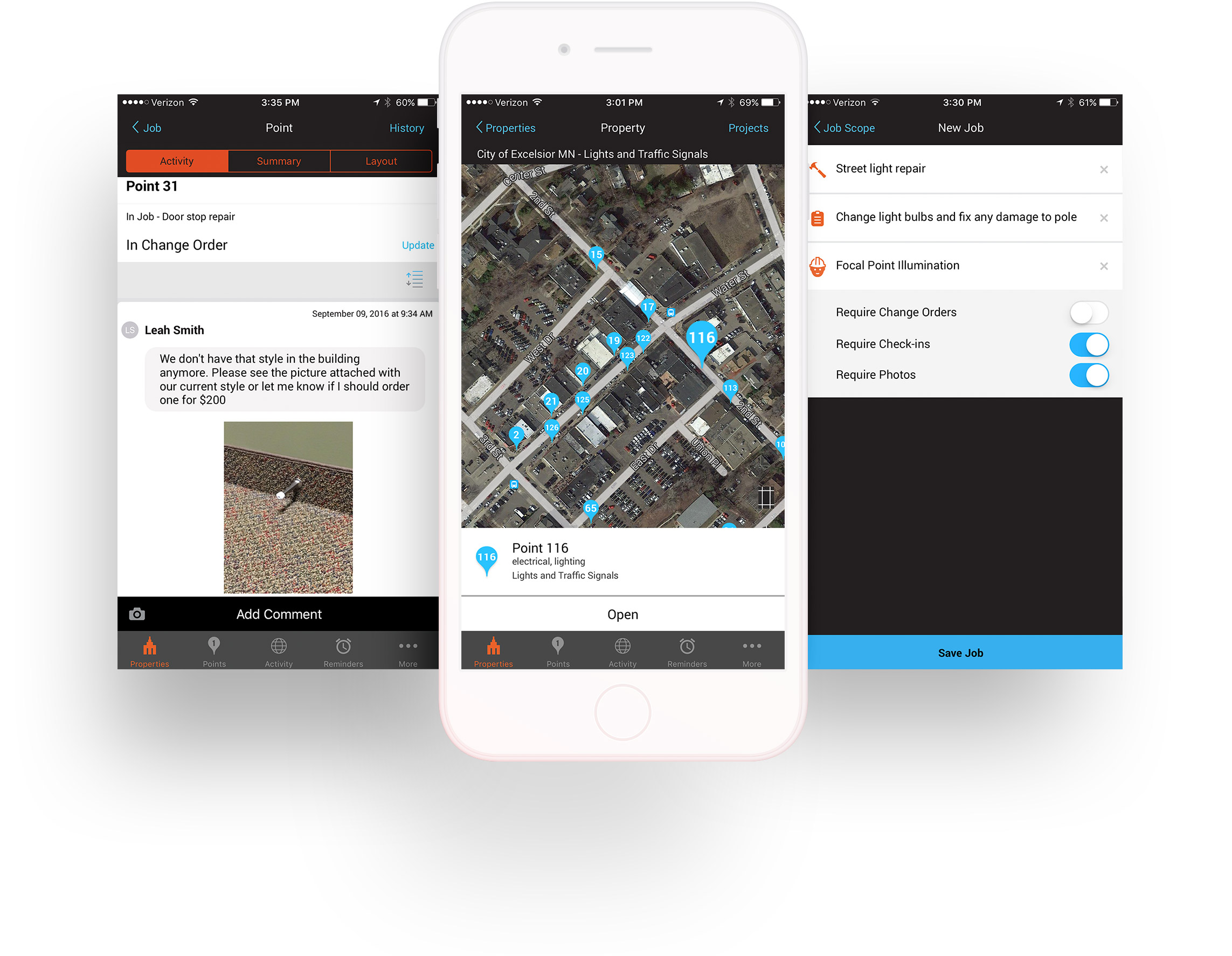 Jobs Feature - When managing jobs and vendors, you can visually track properties in One Spot. You'll also be able to assign jobs, approve change orders, request bids from multiple contractors, verify progress, and convert bids to jobs.Your team will benefit from access to geo-tagged photos and comments, maps and image layouts, property tracking, reminders, custom point lists, digital file cabinets, and flexible reporting.