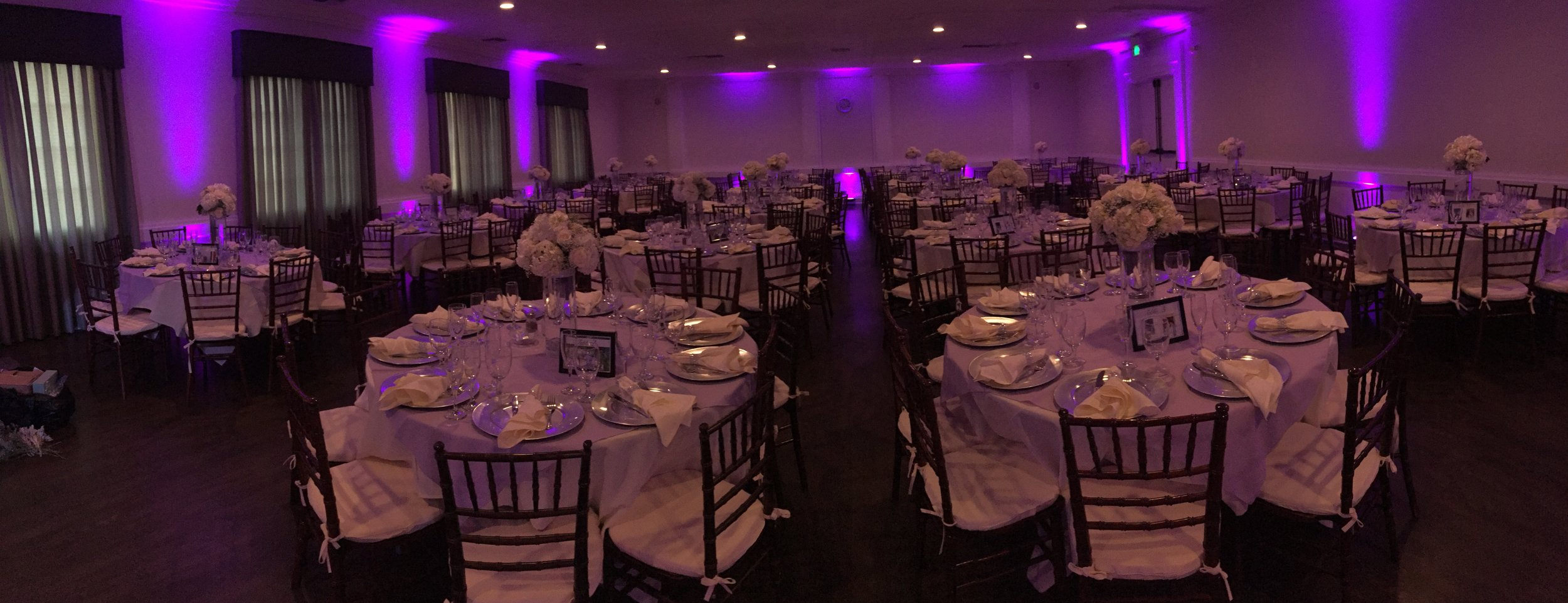 Wireless LED uplighting can turn an ordinary hall into something spectacular  CLICK HERE  for more info
