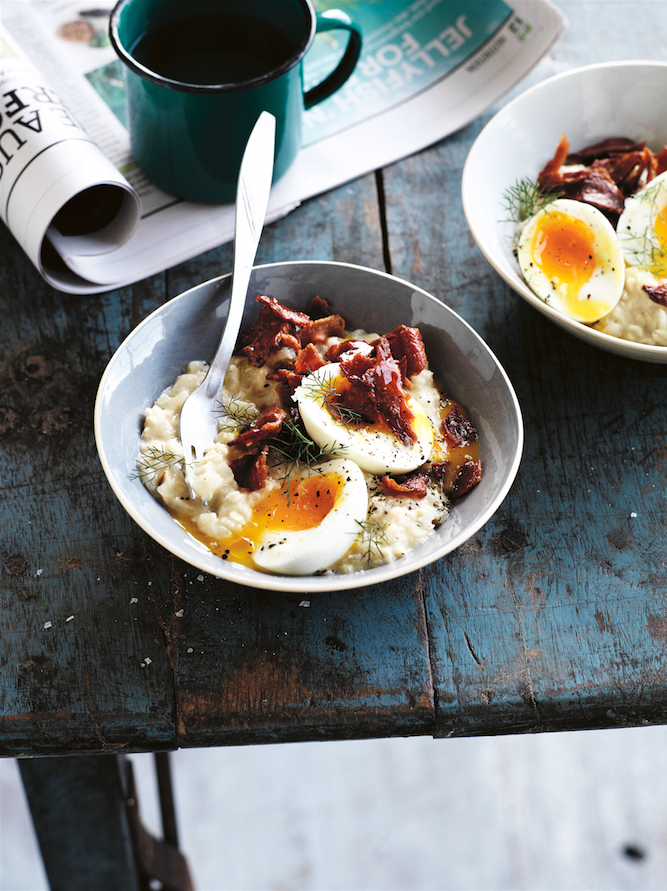 Egg 'n' Bacon Porridge. Simplicious by Sarah Wilson. Photographer: Rob Palmer. Stylist: David Morgan.