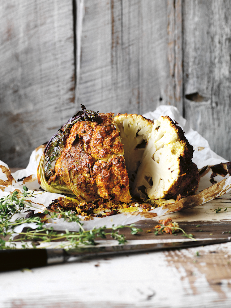 Israeli Whole-Baked Cauliflower. Simplicious by Sarah Wilson. Photographer: Rob Palmer. Stylist: David Morgan.
