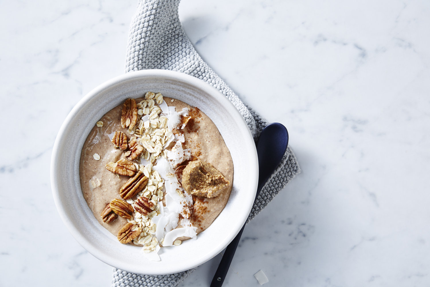 Banana Bread Smoothie Bowl. I Quit Sugar. Photographer: Ella Martin. Stylist: Gemma Lush.