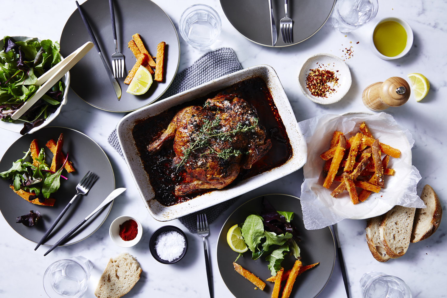 Peri-Peri Chicken with Polenta Sweet Potato Fries. I Quit Sugar. Photographer: Ella Martin. Stylist: Gemma Lush.