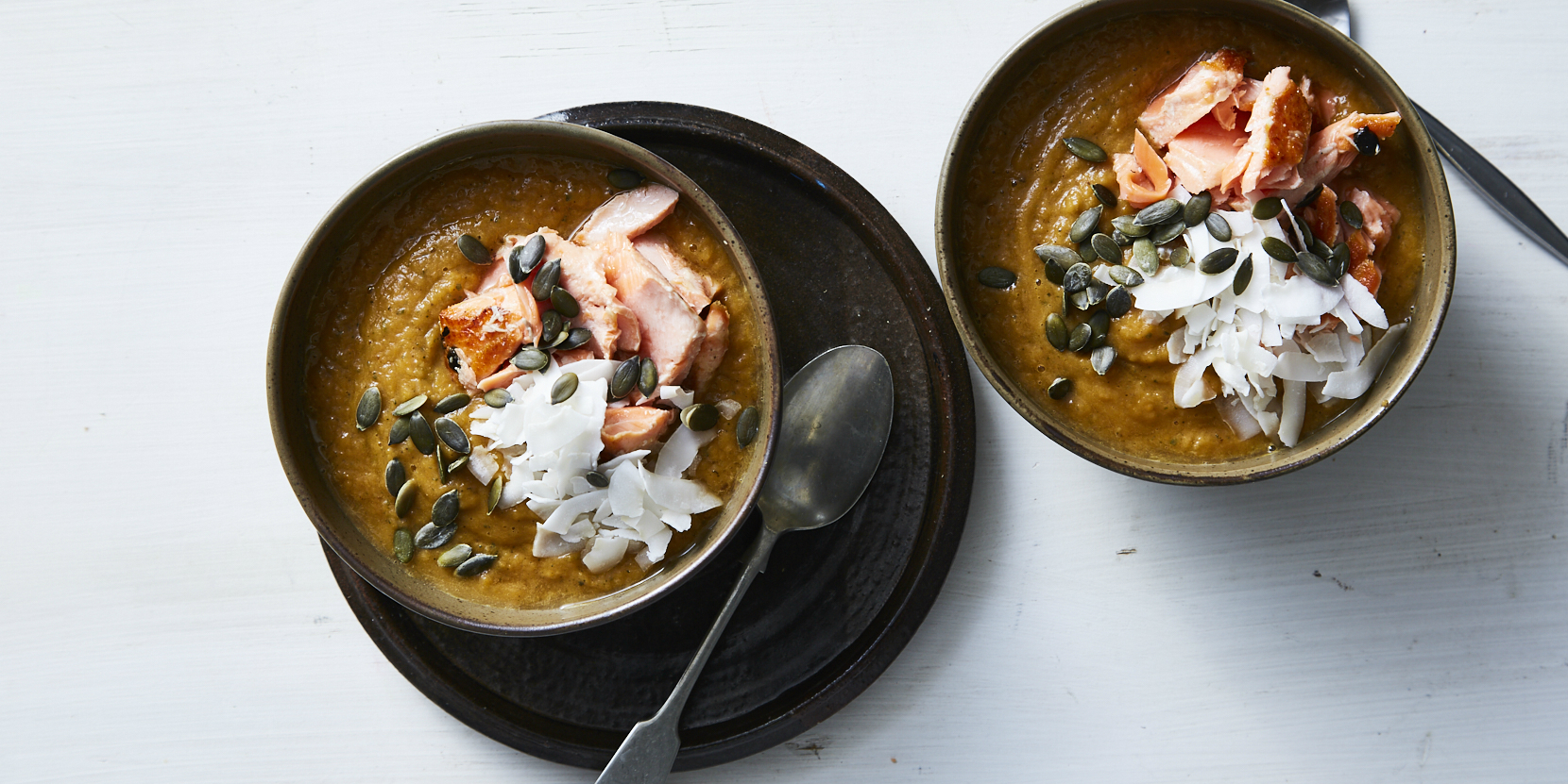 Roast Pumpkin Soup with Flaked Trout. Natalie  Douglas, Thyroid Program. Photographer: Ella Martin. Stylist: Matt Riley.