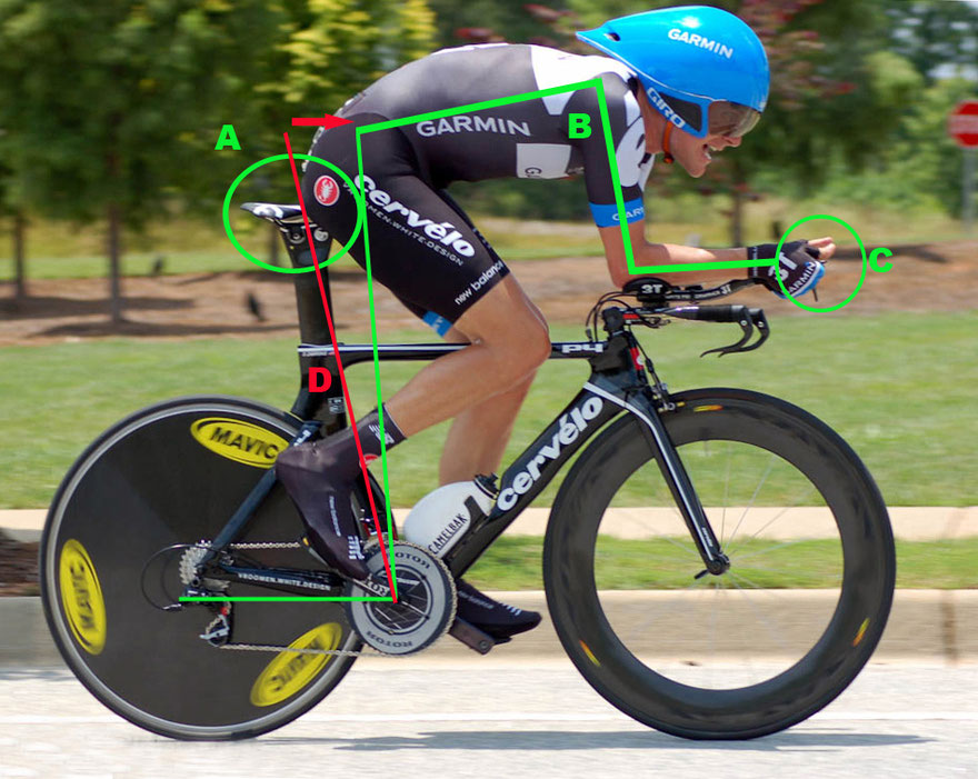 Tri bike: elbows at 90 degrees, moving further into hip extension, flat back.