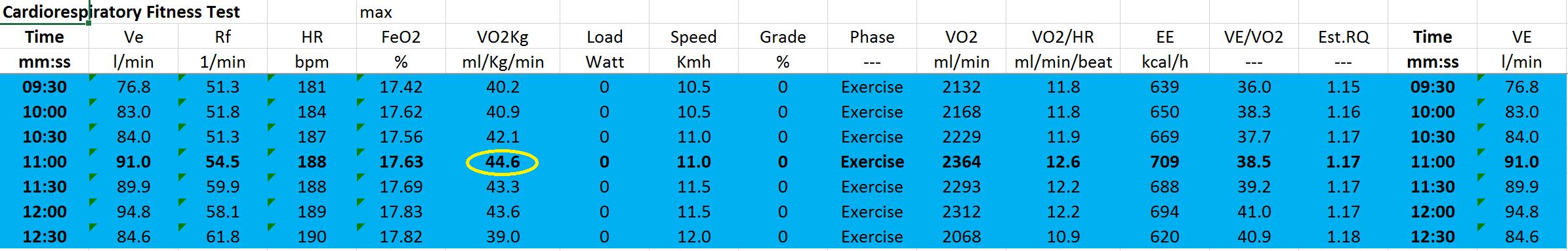 VO2 max before training: 44.6ml/kg/min