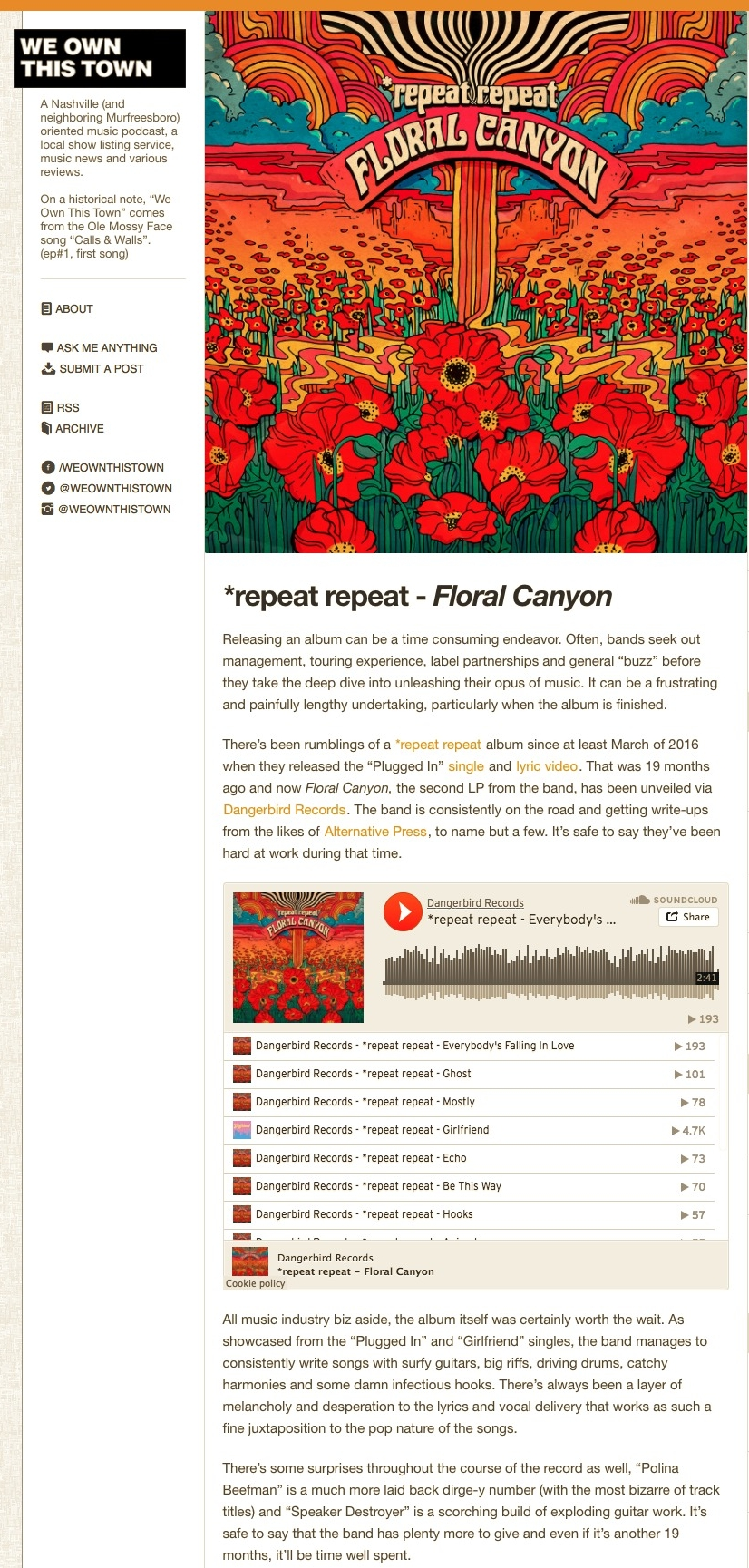 We Own This Town —  repeat repeat   Floral Canyon Releasing an album....jpg